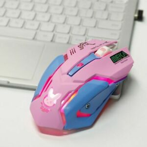 Rechargeable Gaming Mouse Cute 2400 DPI Ergonomic USB Pink Wireless Girls Mouse