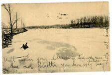 Poughkeepsie NY -HUDSON RIVER STATE HOSPITAL LAKE IN WINTER-Flagler Postcard