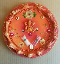 Wooden Ganesh Ganesha Pooja Thali plate (orange)