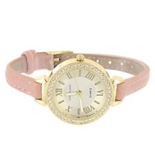 Womens Small Round Face Wrist Watch Pink Leather Band Crystals Steel Back Casual