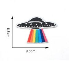 2x Rainbow UFO Spaceship Embroidered Iron On Patch Appliqué