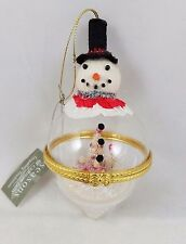 SNOWMAN Winter Scene Glass Ornament Vintage-style Christmas 840153