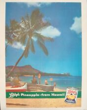LIBBY'S PINEAPPLE FROM HAWAII 1958 advertising poster 18x25.5 LINEN BACKED NM