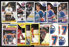 1985-86 OPC O PEE CHEE CARD 132-264 + BOX BOTTOM & TOPPS INSERT STICKER SEE LIST