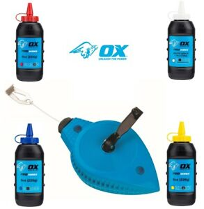Ox Trade Heavy Duty Chalk Line Reel 30m - Chalk Powder Yellow, Blue, Red & White