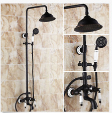Oil Rubbed Bronze Shower Faucet Head Ceramic Handles Tub Mixer Tap Hand Shower