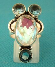 925 Sterling Silver Ring With Aqua Mystic & Blue Topaz UK K 1/2 US 5.50 (rg2707)