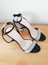 Ladies High Block Heels Ankle Strap Diamanté Party Sandals Size 3-8