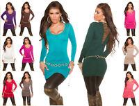 Sexy KouCla longsweater maglia lunga donna spike-studs borchie strass viscosa