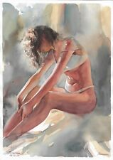 original drawing A3 311SA art by samovar female nude watercolor Signed 2020