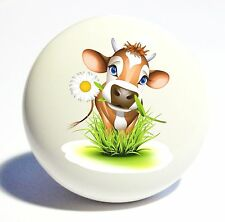 DAISEY COW CALF CARTOON HOME DECOR CERAMIC KITCHEN  KNOB DRAWER CABINET PULL