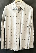"GEOFFREY BEENE MEN'S GRAY DRESS SHIRT SZ 16--34/35. Unbuttoned- NICE ""X"" Pattern"