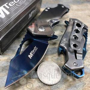 MTech Tactical Spring Assisted Pocketknife w/ Bottle Opener [Silver/Blue]