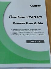 CANON POWERSHOT SX40 HS FULL USER MANUAL GUIDE INSTRUCTIONS PRINTED 220 PAGES A5
