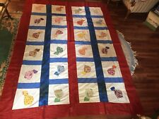 Vintage Sun Bonnet Sue Quilt Top 24 Antique Squares Material 92x68 great Fun!