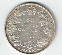 CANADA 1918 50 CENTS HALF DOLLAR KING GEORGE V STERLING SILVER CANADIAN COIN