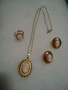 Vintage/nos gold tone pink white Cameo mix jewelry lot