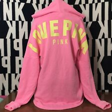 Victoria's Secret PINK STRAPPY FRONT PULLOVER VARSITY TUNIC HOODIE NWT VS PINK