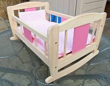 Pintoy Rocking Crib, Cradle, Cot in pink & natural wood colour - Great Quality