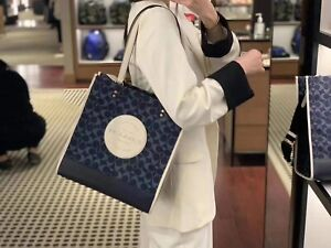 NWT Coach Dempsey Tote In Signature Jacquard And Coach Patch c2823