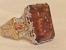 Gems en Vogue Amber and Orange Sapphire Ring, Sterling 925 18K gold accents sze8