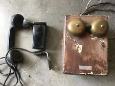 Antique Telephone  oak Ringer Box  w/Western Elec. hand set F1W