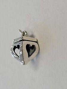 James  Avery Sterling Silver 3D Heart Finial Open Heart Charm- RETIRED