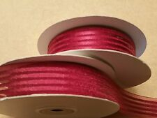 """Sheer Burgundy Organza Ribbon with Stripes 7/8"""" x 25 yards ALL OCCASIONS!"""
