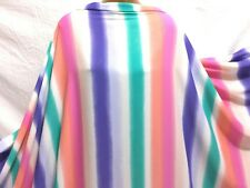 *NEW* Georgette White-Multicolour Striped  Print Dress/Craft Fabric *FREE P&P*
