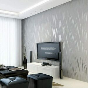 Wave Stripes Wallpaper Embossed Non-woven Flocking Modern Crescent Silver Grey