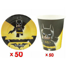 50pcs Paper Plate And 50pcs Cup Batman Theme Birthday Party Tableware Set