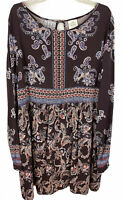 Knox Rose Womens Size XXL Boho Dress Burgundy Paisley Long Sleeve