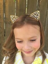 Sparkling Rhinestone Girl's Gold Kitty Cat Headband great for birthday party