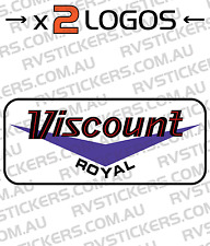 2x VISCOUNT ROYAL RED Caravan decal, sticker, vintage, graphics