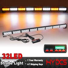 """35"""" 32 LED Amber White Flash Traffic Adviser Directional Arrow Strobe Light Bar"""