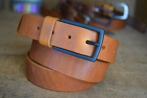 Mens Leather BELT 30mm Saddle Tan Handmade Full Grain with Buckle Classic Casual