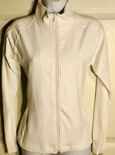 GK WARM UP JACKET LADIES SMALL WHITE BT ZIP FRONT GYM DANCE CHEER SKATE AS