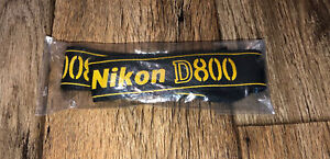 "Nikon D800 Genuine Camera Strap OEM New Never Used Black Yellow 1.5"" Wide"