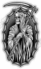 "Reaper Death Hooded Skeleton Scythe Hell Car Bumper Vinyl Sticker Decal 3""X6"""