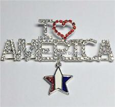 Crystal July 4 Plated I Love America Silver Patriotic Usa Flag Pin Brooch Star