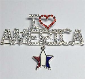 Silver Patriotic USA Flag Pin Brooch Star Crystal July 4 Plated I Love America