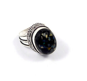 Black Ethopian Opal Silver Plated Hand Carving Size 7.25 Ring Jewelry JC8668