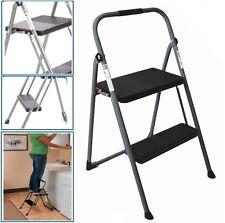 Step Stool 2-Step Ladder Steel Folding Non-slip Compact Lightweight 225 lb. Load