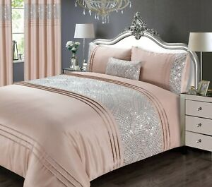 Rapport Luxury Charleston Sequin Embellished Duvet Cover Bedding Set Blush Pink