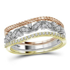 10K TRI-TONE GOLD DIAMOND STACKABLE ROPE FLORAL BAND RING 3-PIECE SET 1/5 CTTW