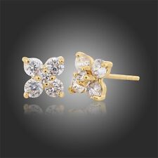 GIRLS LADIES SPARKLY CRYSTAL GOLD PLATED STUD EARRINGS 18K GOLD PLATED