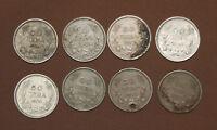 1930 1940 1943 MIXED LOT BULGARIA 50 LEVA 8 COINS KING BORIS III