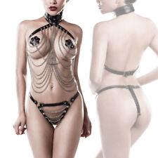 Completo Intimo Ecopelle Fetish Collare Perizoma Catene BDSM Bondage Kit Sexy