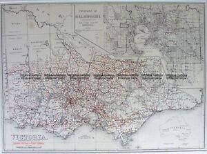 Antique Map 14-335 Victoria showing State Schools c.1893