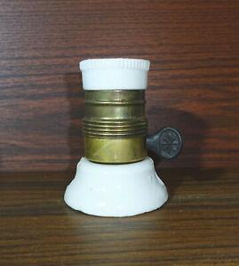 Alte E27 Lampenfassung Porzellan Messing mit Schalter NOS Vintage Old Fassung !